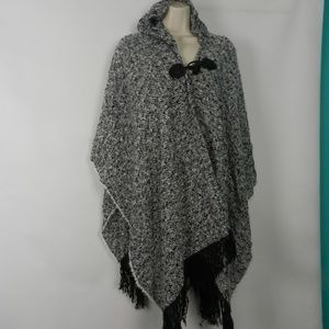 Faded Glory Hooded Boucle Ruana with Toggle  hb